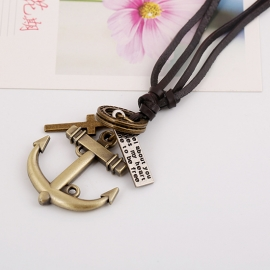 The new leather necklace anchor men and women long leather necklace