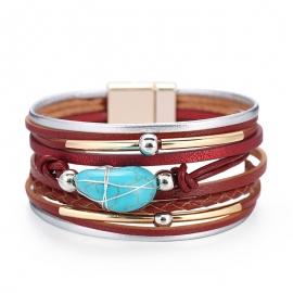 European and American Bracelets Bohemian Ethnic Style Multilayer Leather Turquoise Beaded Bracelet Amazon Hot Bracelet