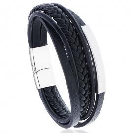 Stainless steel leather bracelet simple multi-layer cowhide retro woven titanium steel bracelet bracelet